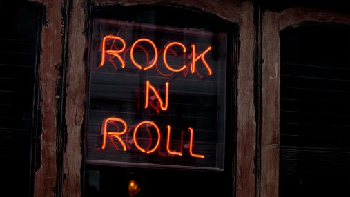 A rock and roll neon sign.