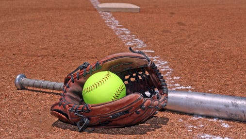 softball glove and bat