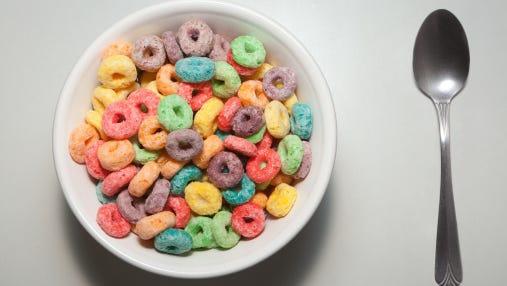 Bowl of Kellogg's breakfast cereal.