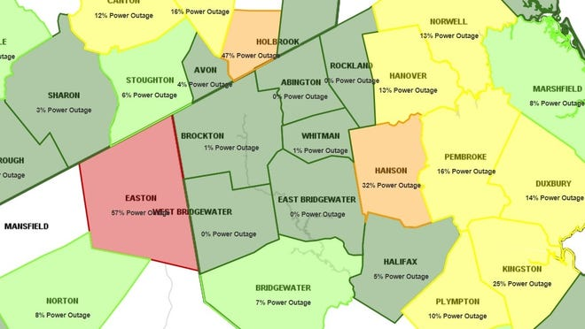 The Massachusetts Emergency Management Agency's power outage map as of about 10 a.m. on Wednesday, Sept. 30, 2020.