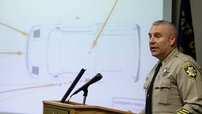 "Deschutes County Sheriff Shane Nelson answers questions during a news conference about the investigation into the death of Robert ""LaVoy"" Finicum at the Deschutes County Sheriff's Office in Bend, Ore., Tuesday, March 8, 2016. (Joe Kline/The Bulletin via AP)"