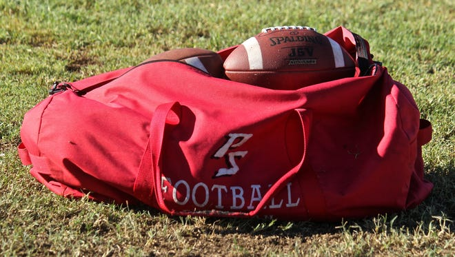 Palm Springs High School football team starts fall training at its practice field on Aug. 4, 2015.