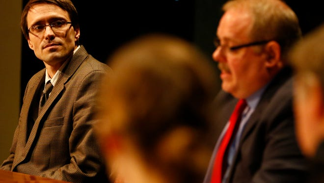 Mayoral candidates Jay Kronenwetter, left, and Robert Mielke, debate Monday night at UW Center for Civic Engagement in Wausau.