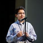 Mohamed Bouftas, 14, competes Feb. 28 in the Journal & Courier Scripps Regional Spelling Bee.