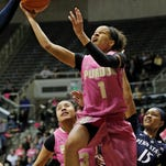 Ashley Morrissette drives for a shot against Penn State Sunday, February 8, 2015, at Mackey Arena. Purdue fell to Penn State 54-50.