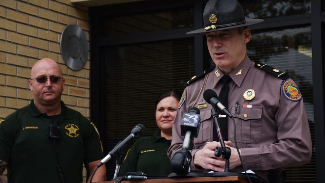 Maj. Warren Fast, Florida Highway Patrol Troop A commander, talks Thursday, Feb. 15, 2018, during a news conference in Pensacola about the importance of staying at a crash scene.