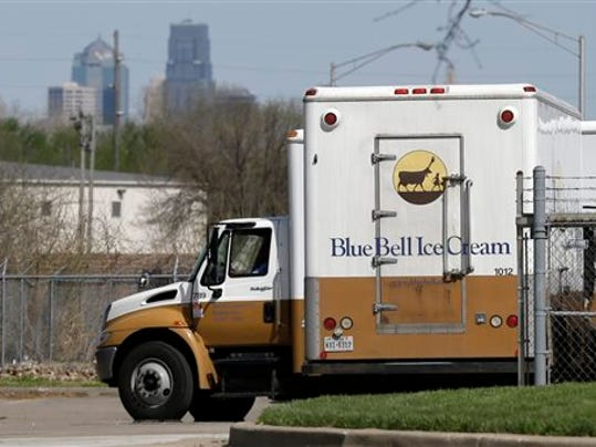 FILE - In this April 10, 2015, file photo, Blue Bell delivery trucks are parked at the creamery's location in Kansas City, Kan. Blue Bell can resume production and sale of ice cream manufactured at its Alabama plant, the Alabama Department of Public Health announced Wednesday, Aug. 5. (AP Photo/Orlin Wagner, File)