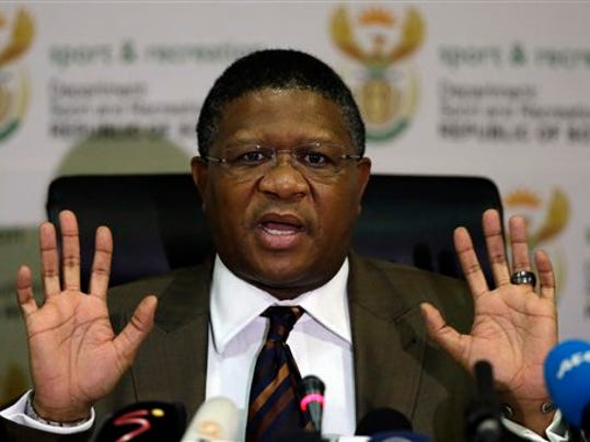 """South Africa's sports minister Fikile Mbalula gestures as he speaks during a news conference in Johannesburg, South Africa, Wednesday, June 3, 2015.  Mbalula """"categorically"""" denied on Wednesday that the $10 million paid to former FIFA official Jack Warner in 2008 was a bribe for his help in securing the World Cup. (AP Photo/Themba Hadebe)"""
