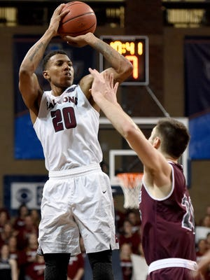 Fairmount State's Thomas Wimbush shoots over  Bellermine University's George Knott during the NCAA 2017 Division II Men's Elite Eight semifinals at the Sanford Pentagon in Sioux Falls, S.D. on Thursday, March 23, 2017.