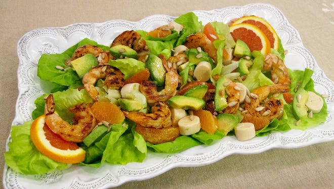 Spicy Shrimp with Hearts of Palm, Avocado, and Orange Salad.