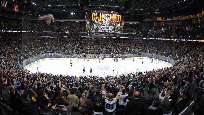 Golden Knights fans erupt as Vegas clinches a playoff berth.