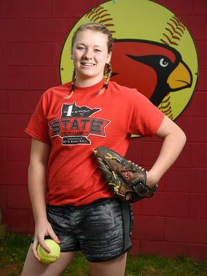 Annandale pitcher Sarah Johnson is the Area Athlete of the week at practice Monday, April 25, at the Annandale High School.