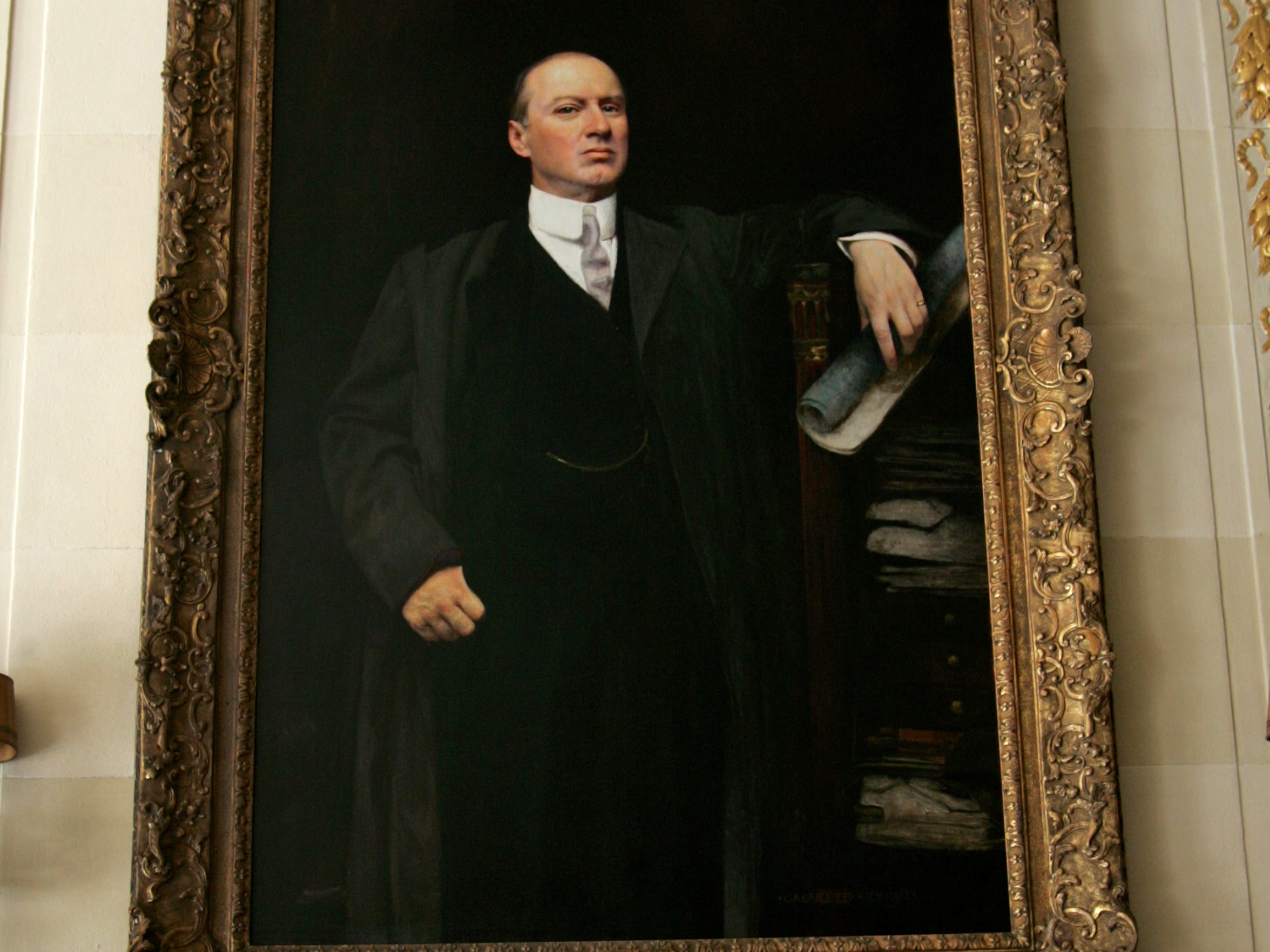 A painting of Alfred I. duPont in the reception hall