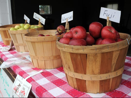 A row of apples from Airy View Orchard sits on a table at the corner of State and Raiders roads in Frazeysburg. Holly Crown, 53, took over the orchard from her late grandfather, John Francis Shaw, and is a member of the fourth generation to run the farm.
