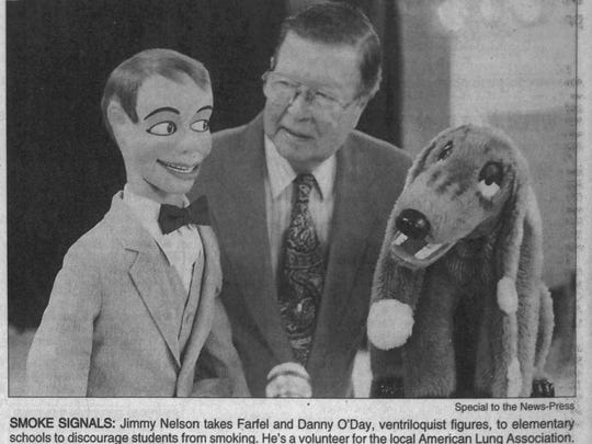 Jimmy Nelson with his dummies in The News-Press on March 10, 1999.