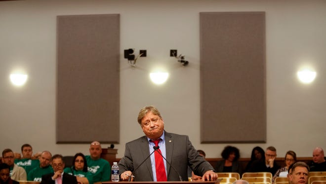 Louisville Metro Corrections Director Mark Bolton answers questions during a hearing Monday afternoon before the Public Safety Committee. Feb. 27, 2017