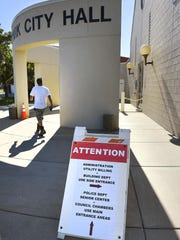 The main entrance of the Waite Park City Hall is temporarily