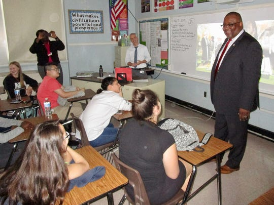 Education Commissioner Lamont Repollet surprises the social studies class of McManus teacher Brian Lukaszewski during a school tour. He asked the students to wish their teacher a happy Teacher Appreciation Week.