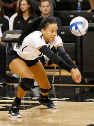 Purdue's Azariah Stahl with a dig against Oral Roberts in the third set Friday, August 25, 2017, at Holloway Gymnasium on the campus of Purdue University. Purdue defeated Oral Roberts 25-15, 25-13, 25-20.