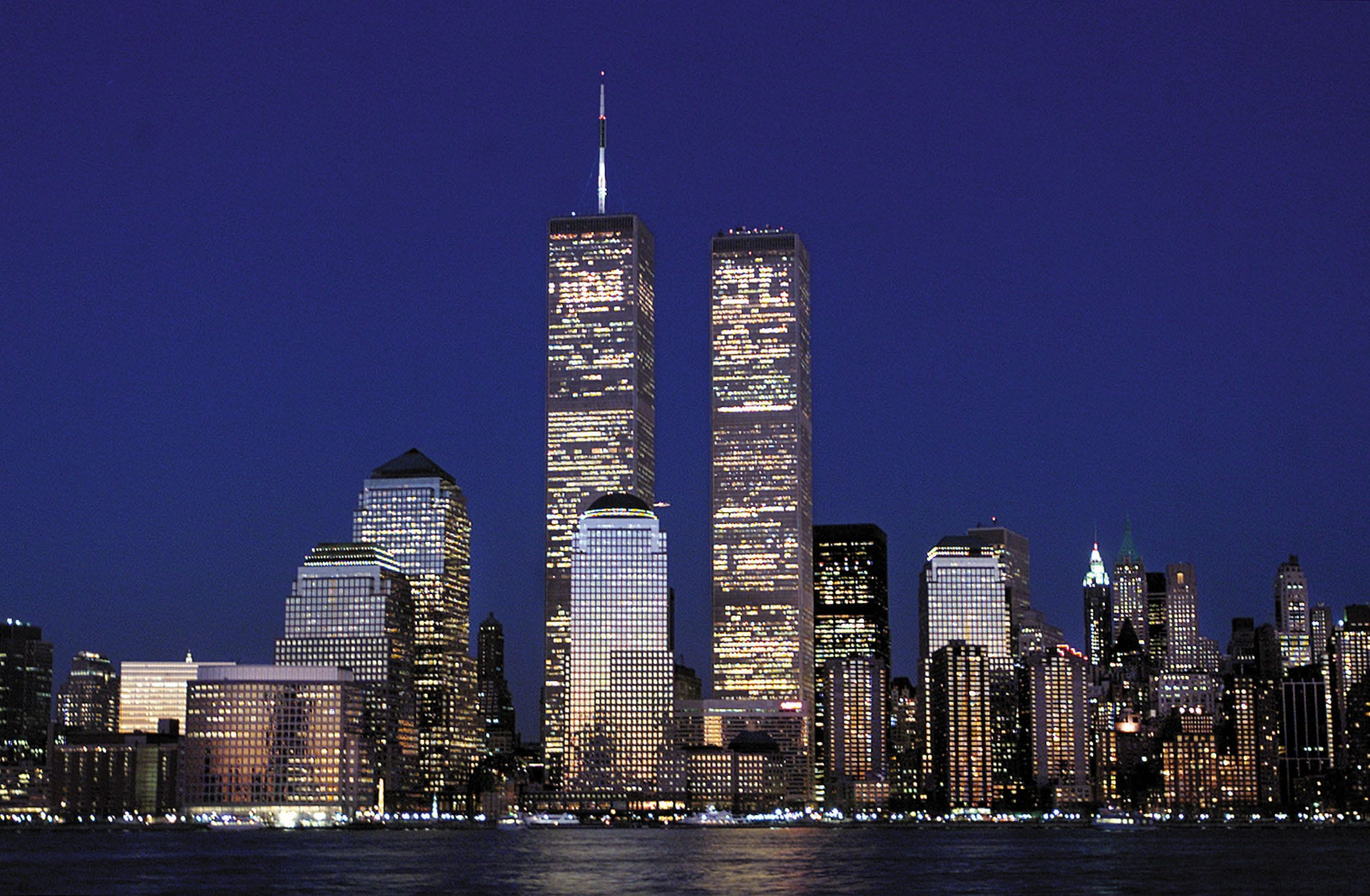 The Manhattan Skyline And The Twin Towers Of The World
