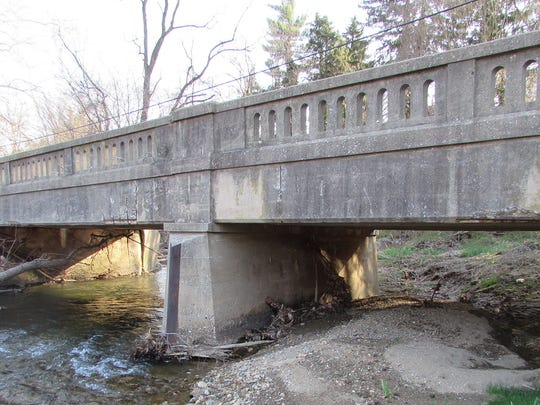 One of the 15 county bridges slated for replacement is the Route 124 bridge over Cabin Creek in Lower Windsor Township. Work is scheduled to begin in June.
