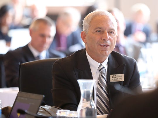 Bob Donley addresses the Iowa Board of Regents during its meeting at the University of Northern Iowa in Cedar Falls, Iowa, Thursday, June 8, 2017.