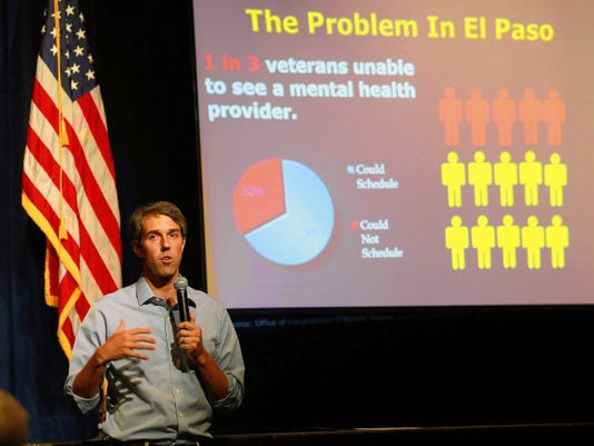 VICTOR CALZADA-EL PASO TIMES U.S. Rep. Beto O'Rourke spoke abouit a plan to better the situation at the El Paso VA Saturday.