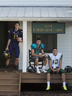2015 High School football cover and mug shot photos Kieran DiGiorno, Naples Kaden Frost, Gulf Coast Kory Curtis, Island Coast