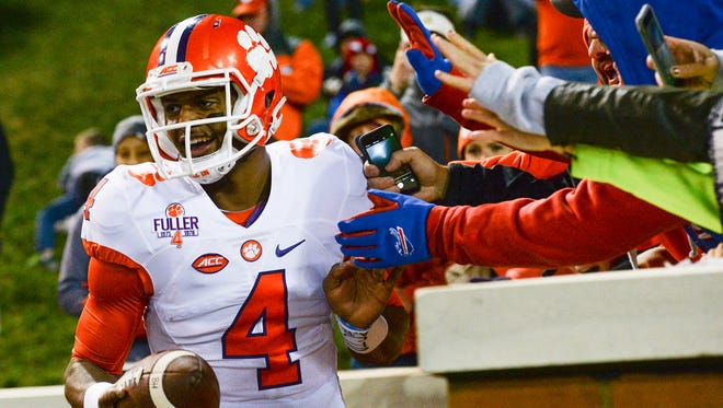 Clemson quarterback Deshaun Watson (4) celebrates after scoring a touchdown against Wake Forest on Nov. 19, 2016.
