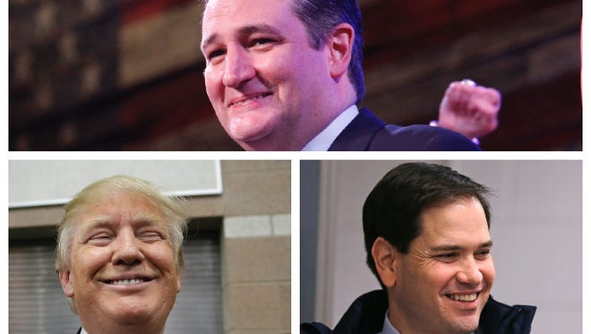 Ted Cruz, top, does not exhibit a Duchenne smile, while Donald Trump and Marco Rubio do.