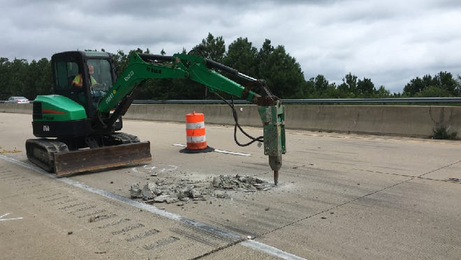 Eastbound lanes of the Salisbury Bypass were closed Tuesday, Aug. 15, for emergency repair work.