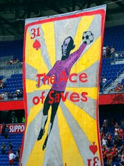 April 14, 2018: A tifo for New York Red Bulls goalkeeper Luis Robles is display before a game against the Montreal Impact at Red Bull Arena. NYRB won the game, 3-1.