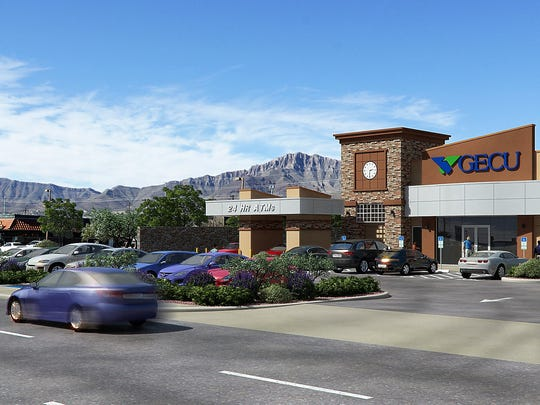 A rendering of the GECU neighborhood branch being built at 9435 Dyer St., in Northeast El Paso.