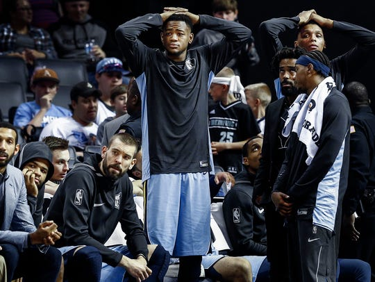 Memphis Grizzlies bench looks on during a 98-88 loss