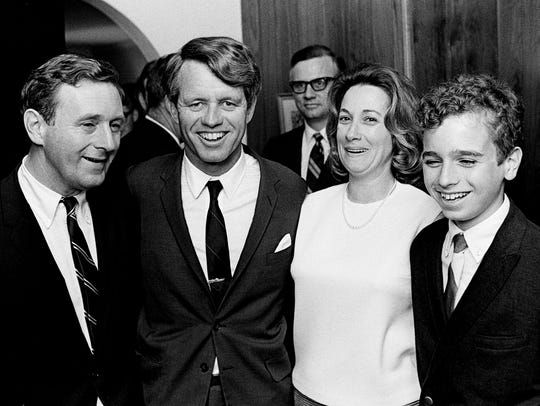 Presidential aspirant Sen. Robert Kennedy, second from left, poses with the family of The Tennessean Editor John Seigenthaler, left, and wife Dolores and son John Michael, at Vanderbilt University March 21, 1968.
