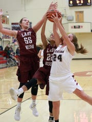 L-R Station Camp's Faith Eubank and Bre Burns battle