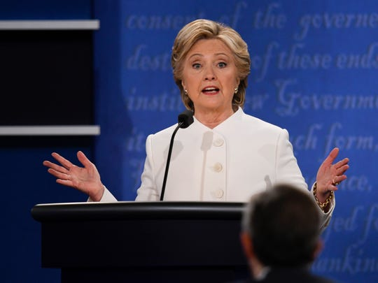 Hillary Clinton takes part in the final presidential debate in Las Vegas on Oct. 19, 2016.