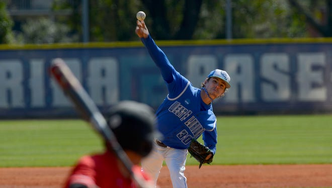 UWF pitcher Walker O'Connor, who through 8 shutout innings in Sunday's win against Tampa, was honored Tuesday as Gulf South Conference pitcher of the week.