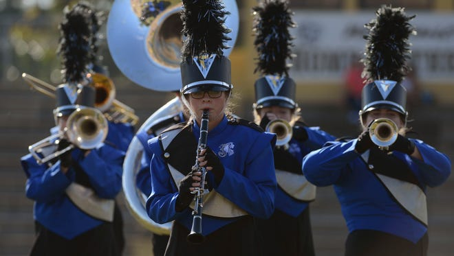 The Jay High School Royal Pride Band perfoms Saturday during the Blackwater Classic Marching Band Festival at Milton High School.