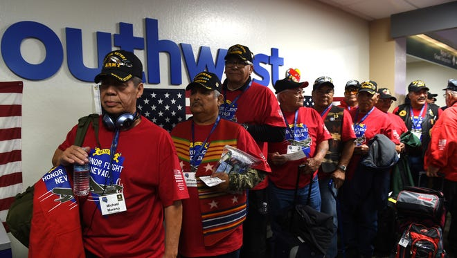 Native American veterans prepare to board an Honor Flight airplane bound for Washington D.C. at the Reno-Tahoe International Airport in Reno on Nov. 10, 2016.