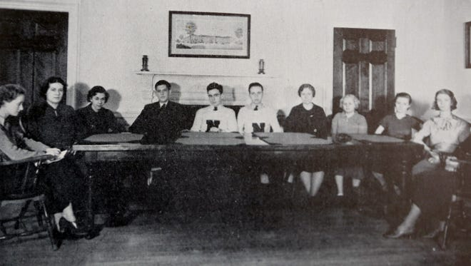 A photograph from the 1936 Nyack High School yearbook of members of the National Honor Society. Jefferson Weishaar, 99, a resident of Upper Nyack, is fourth from left in the photo.