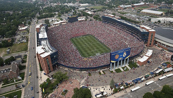 This is an aerial view of Michigan Stadium during the International Champions Cup match between Real Madrid and Manchester United at Michigan Stadium on Aug. 2, 2014.