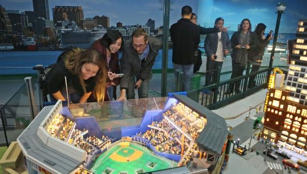 People take in Miniland at Legoland Discovery Center at Ridge Hill in Yonkers, N.Y., during Adult Fans of Lego Night on Nov. 6.