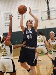 IHA # 44 Emma Matesic drives to the basket Bergen County