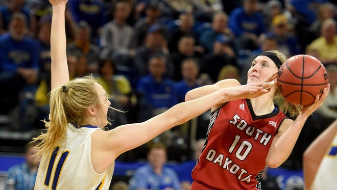 USD's Allison Arens shoots over SDSU's Madison Guebert during the Coyote-Jackrabbit game at Frost Arena last season.