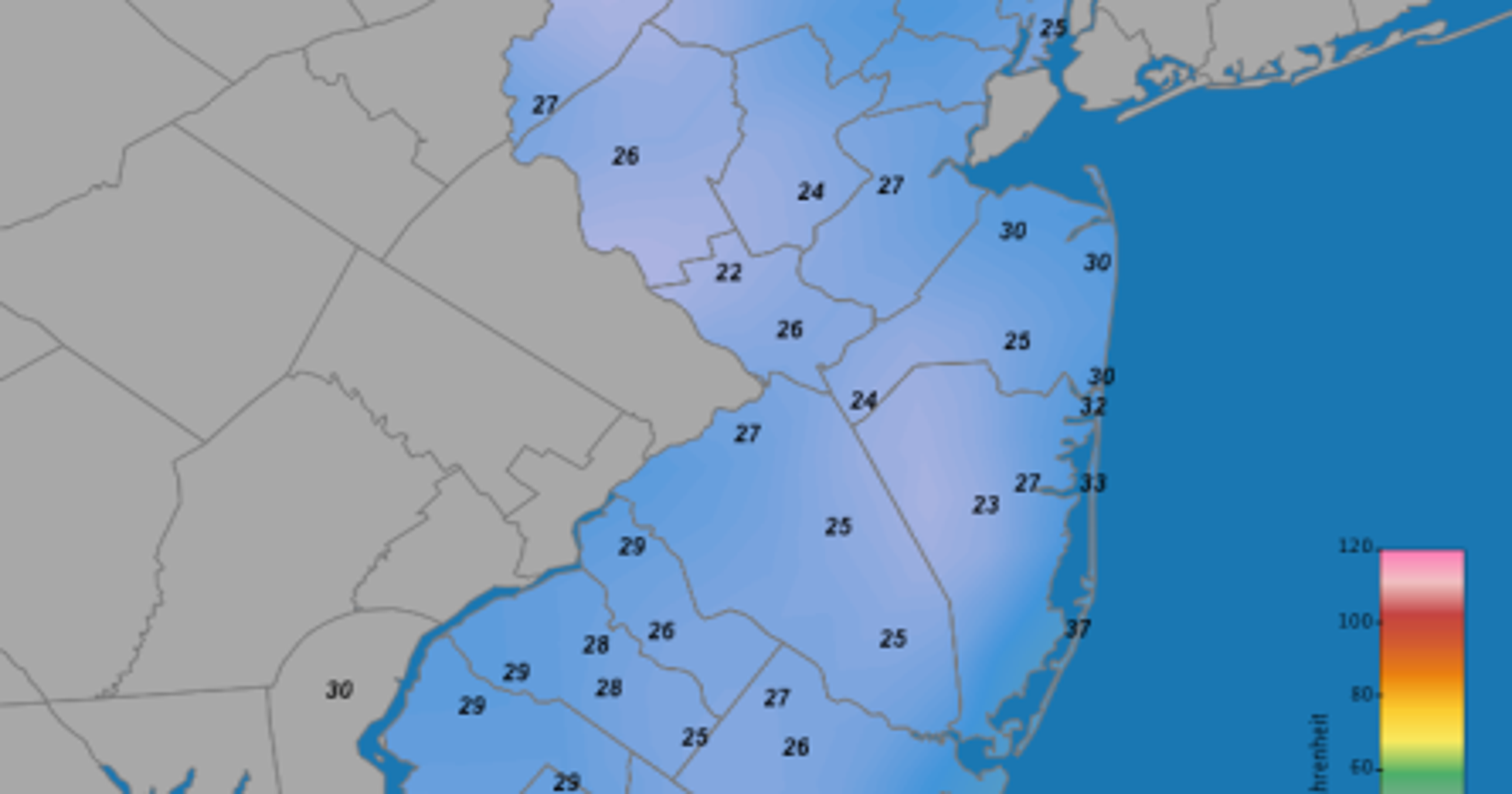 Record cold in NJ, stormy winter forecast