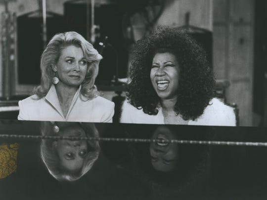 "Candice Bergen, left, and Aretha Franklin on ""Murphy Brown"" in 1991."