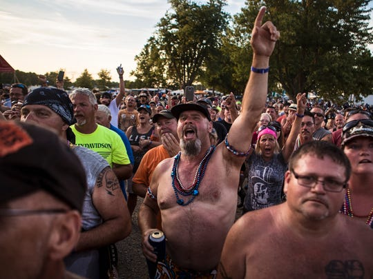 Spectators cheer on contestants during the Miss Sturgis pageant Friday during the Sturgis Kentucky Bike Rally. The rally has grown each year since it begain in 1993, but generally welcomes between 15,000 and 20,000 attendants. July 14, 2017