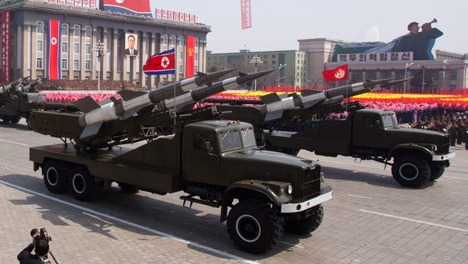 This file photo taken on April 15, 2012 shows SA-3 ground-to-air missiles being displayed during a military parade in honor of the 100th birthday of the late North Korean leader Kim Il-Sung in Pyongyang.