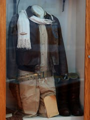 Pilot gear worn by a Tuskegee Airmen on display in
